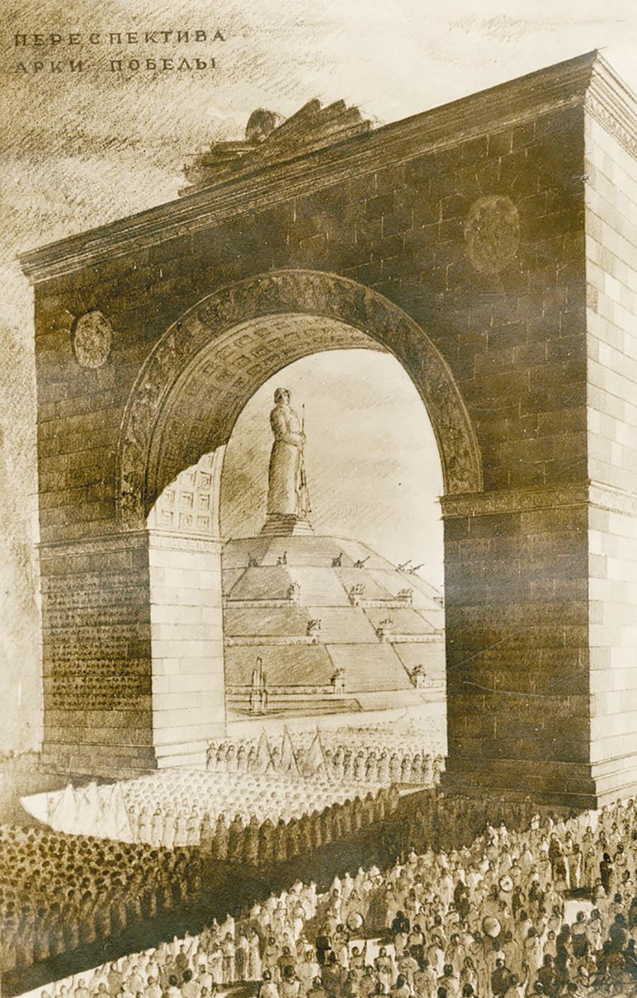 Скици и план на мащабния Паметник на Победата от Геворк Мушегян