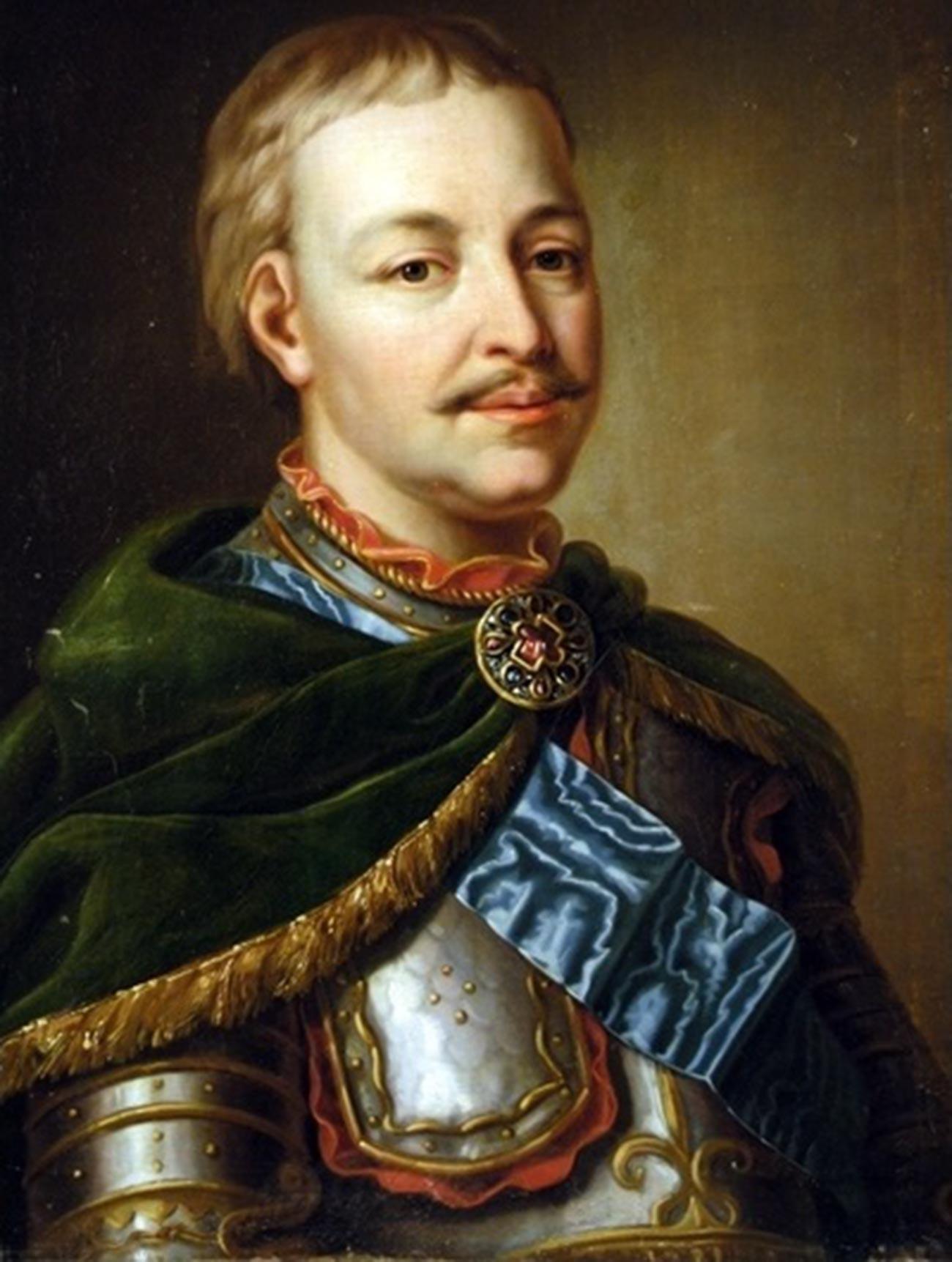 Портрет Ивана Мазепы в латах и с «андреевской лентой».