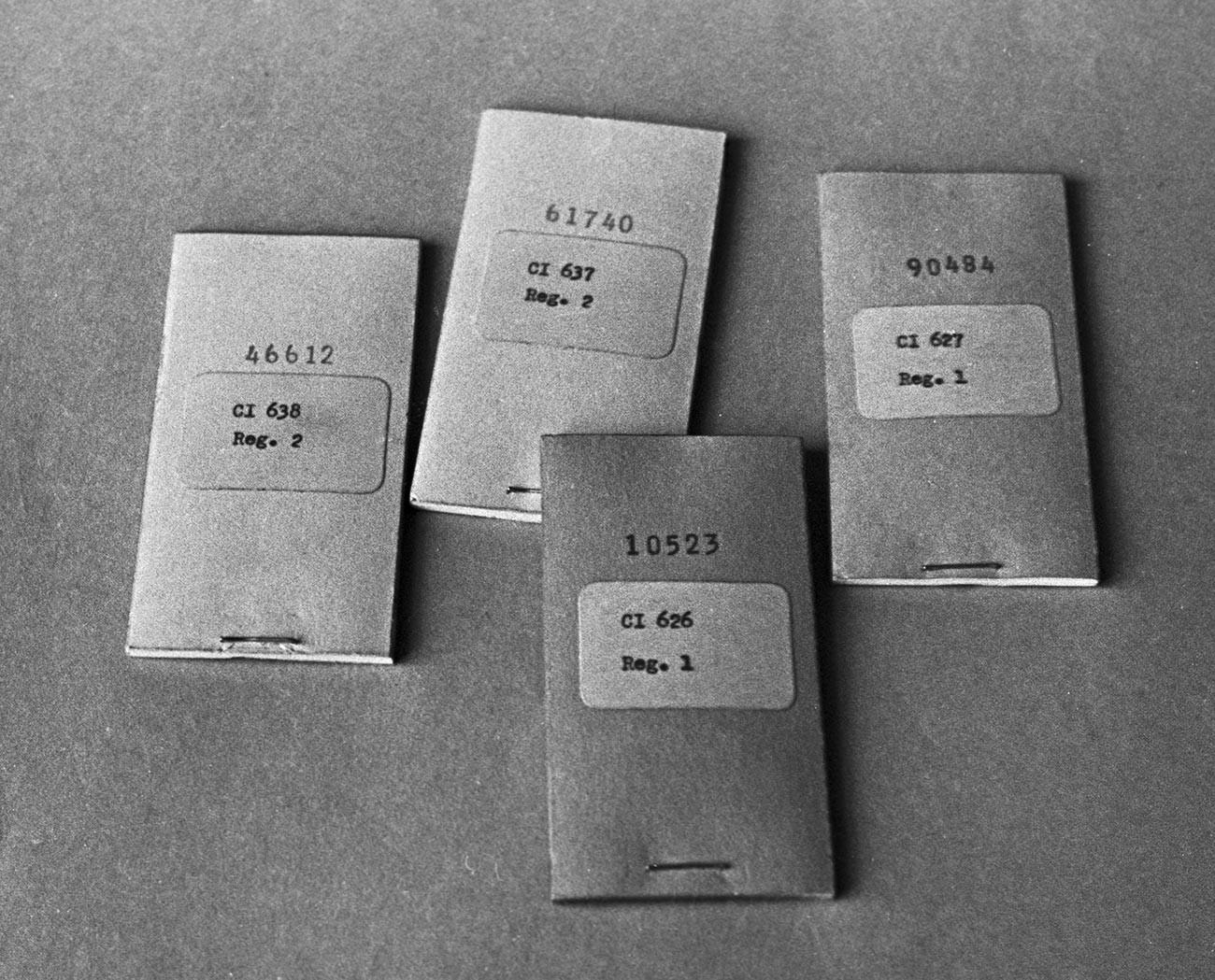 Шифровальные блокноты, принадлежавшие полковнику советской военной разведки Олегу Пеньковскому.