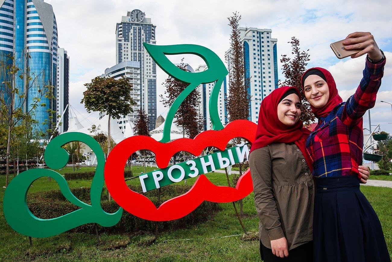 En el centro de Grozni.