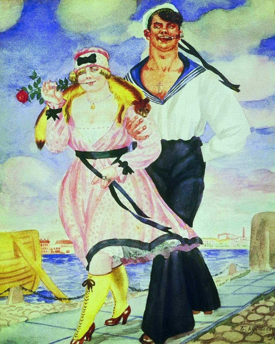Un marin et sa bien aimée, 1920. Boris Koustodiev
