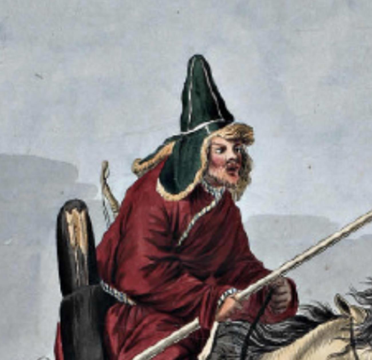 Orang Kirgiz memakai topi malakhai, awal abad ke-19.