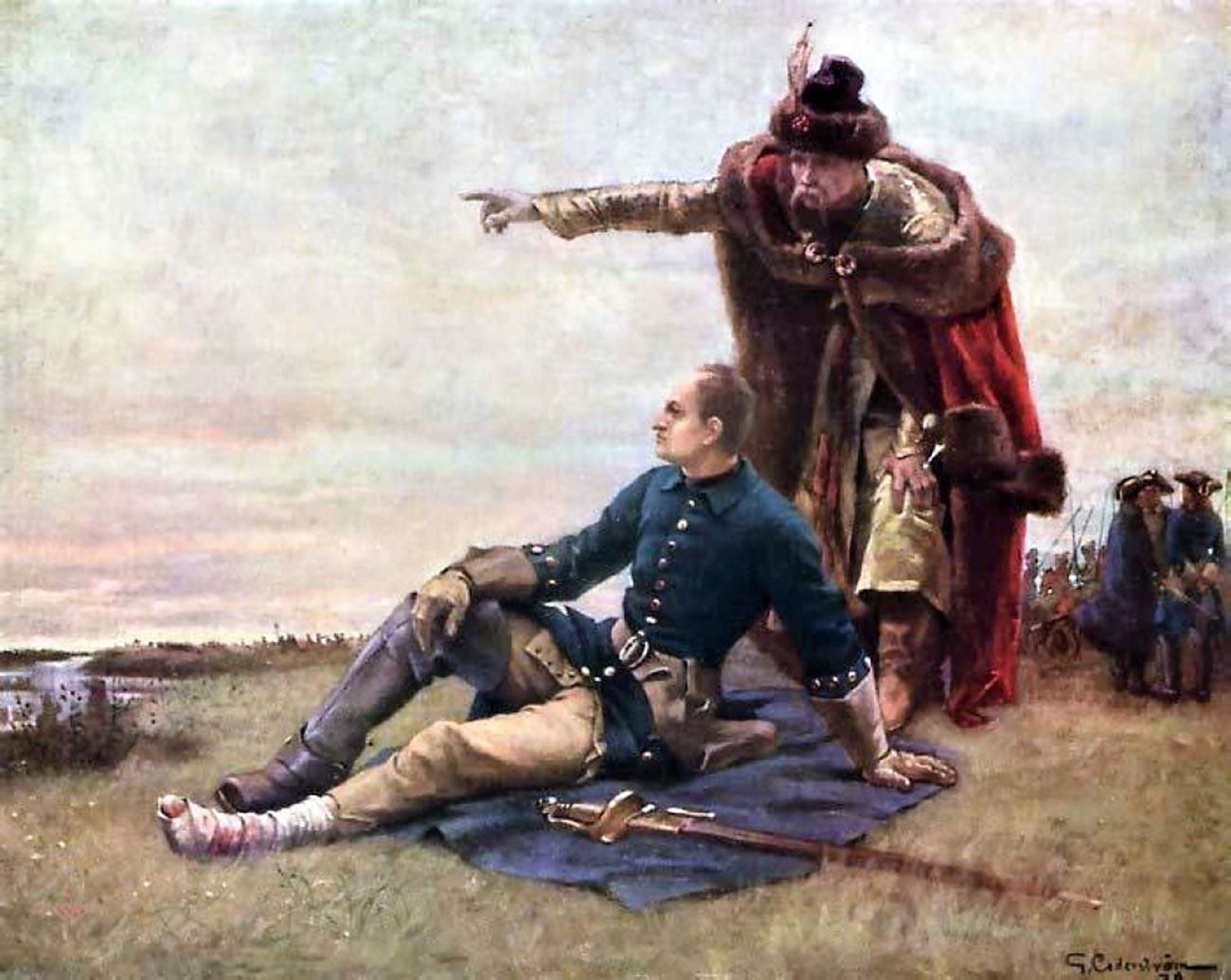 Karl XII. von Schweden und Iwan Masepa nach der Schlacht bei Poltawa