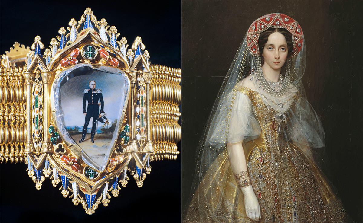Золотой браслет с плоским алмазом. На этом портрете изображена Мария Александровна в русском платье и такими браслетами.