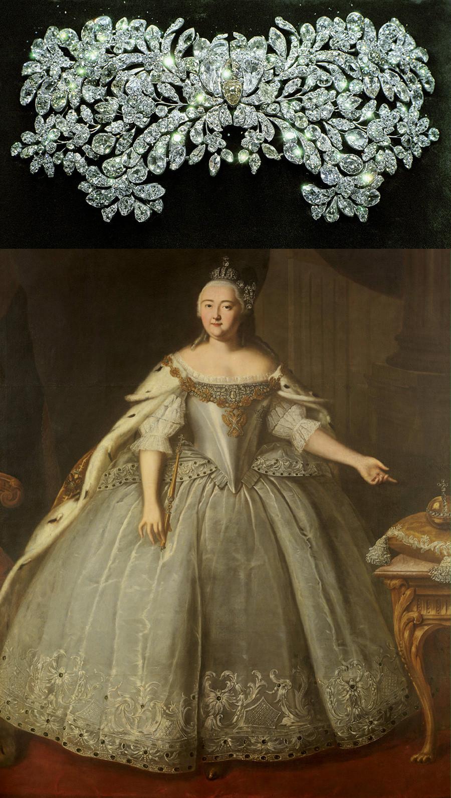 Пряжка-аграф принадлежала императрице Елизавете Петровне. Серебро, бриллианты. Около 1750 года.