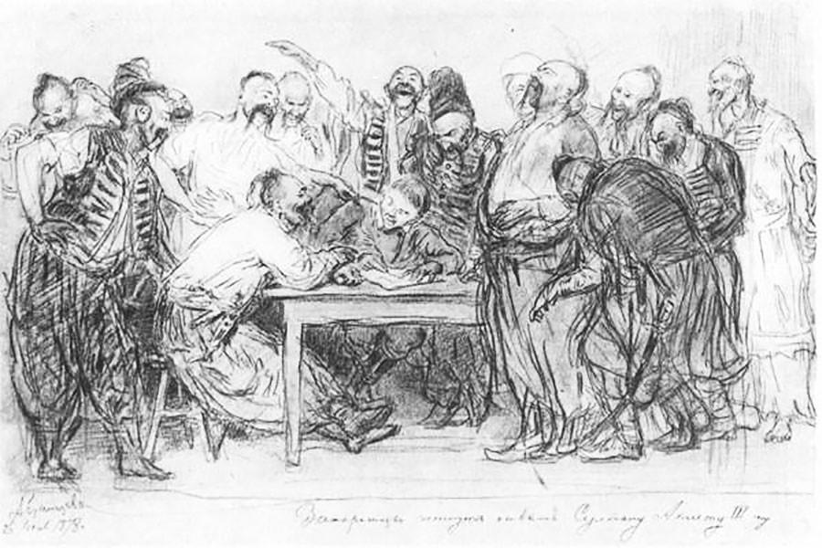 "Иља Рјепин, ""Запорошки козаци"", скица, дрвени угљен, 1878."