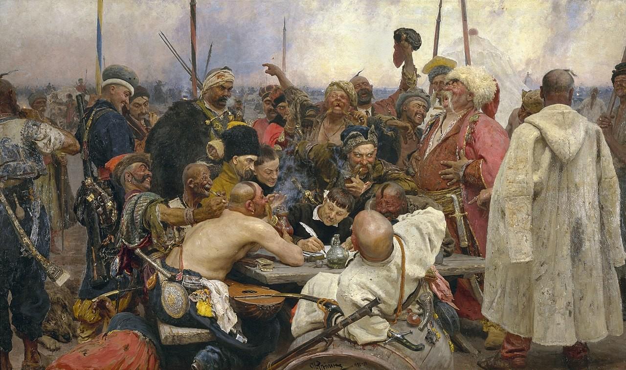 """Иља Рјепин, """"Козаци Запорожја пишу писмо константинопољском султану""""."""