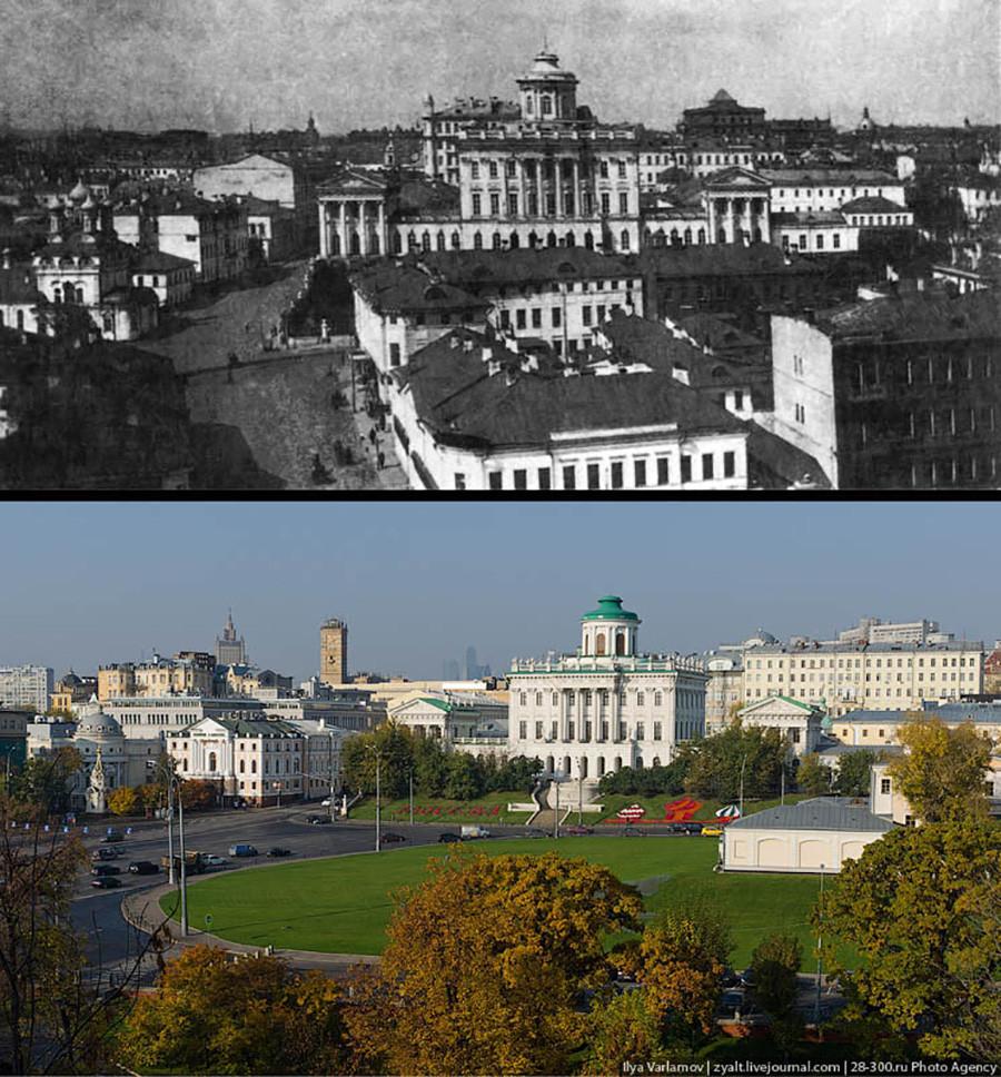 До: жилой квартал на Моховой. После: Боровицкая площадь (фото 2011 года)