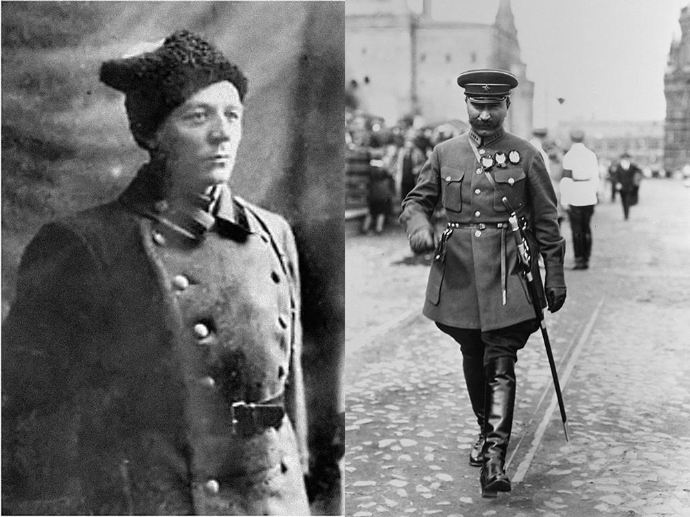 Борис Думенко (ляво) и Будьони през 1928 г. (дясно)