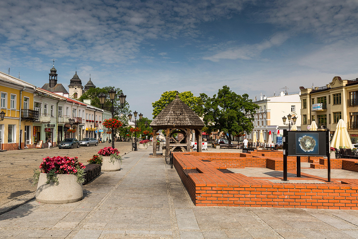 A street in Chelm, Poland, Lublin Voivodeship.