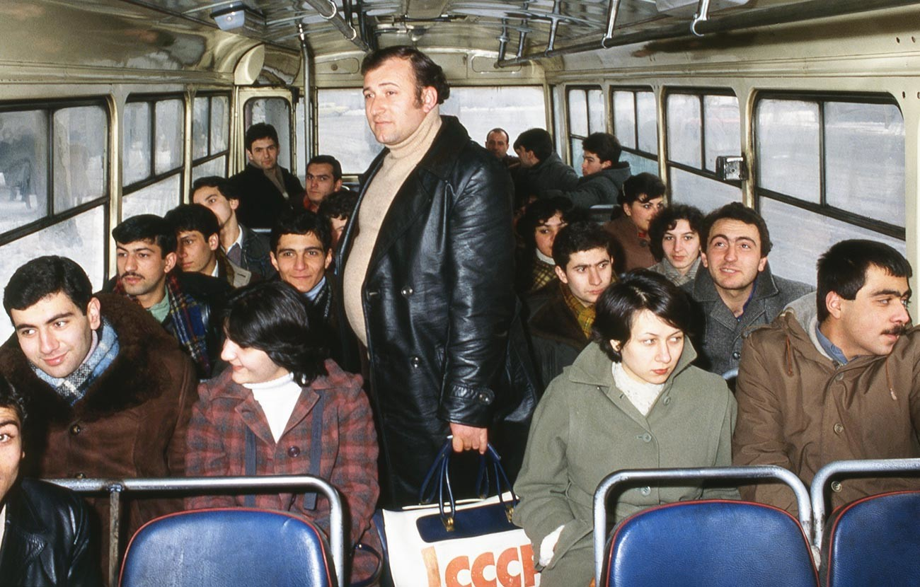 Shavarsh Karapetyan pictured on a bus on route to work, 1983