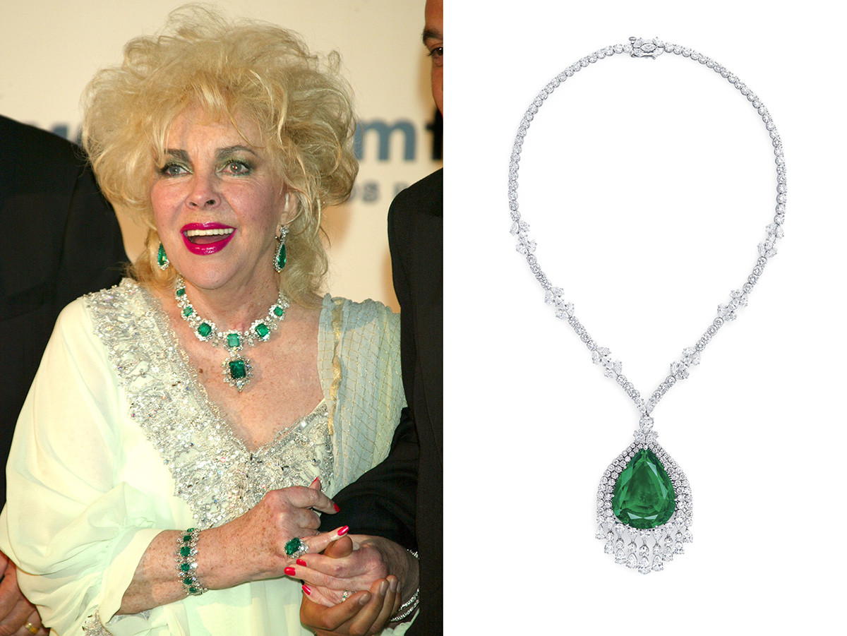 Left: Actress Liz Taylor in her emeralds, 2003. Some of those gems were from Maria Pavlovna's parure. Right: The imperial emerald from Maria Pavlovna's parure cut by Cartier in 1954 and turned into this necklace.