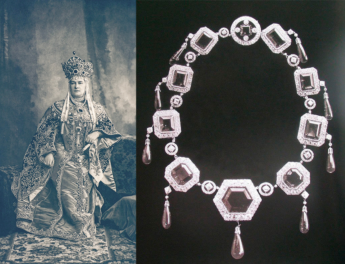 Maria Pavlovna during the 1903 ball and her emeralds.
