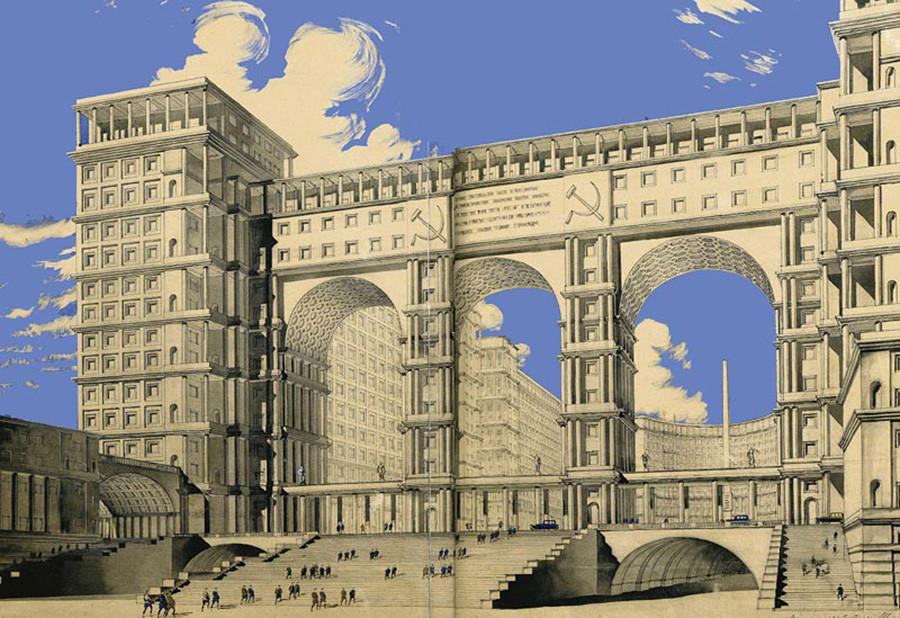 Projekt für das Narkomtjaschprom-Gebäude von Iwan Fomin, 1934
