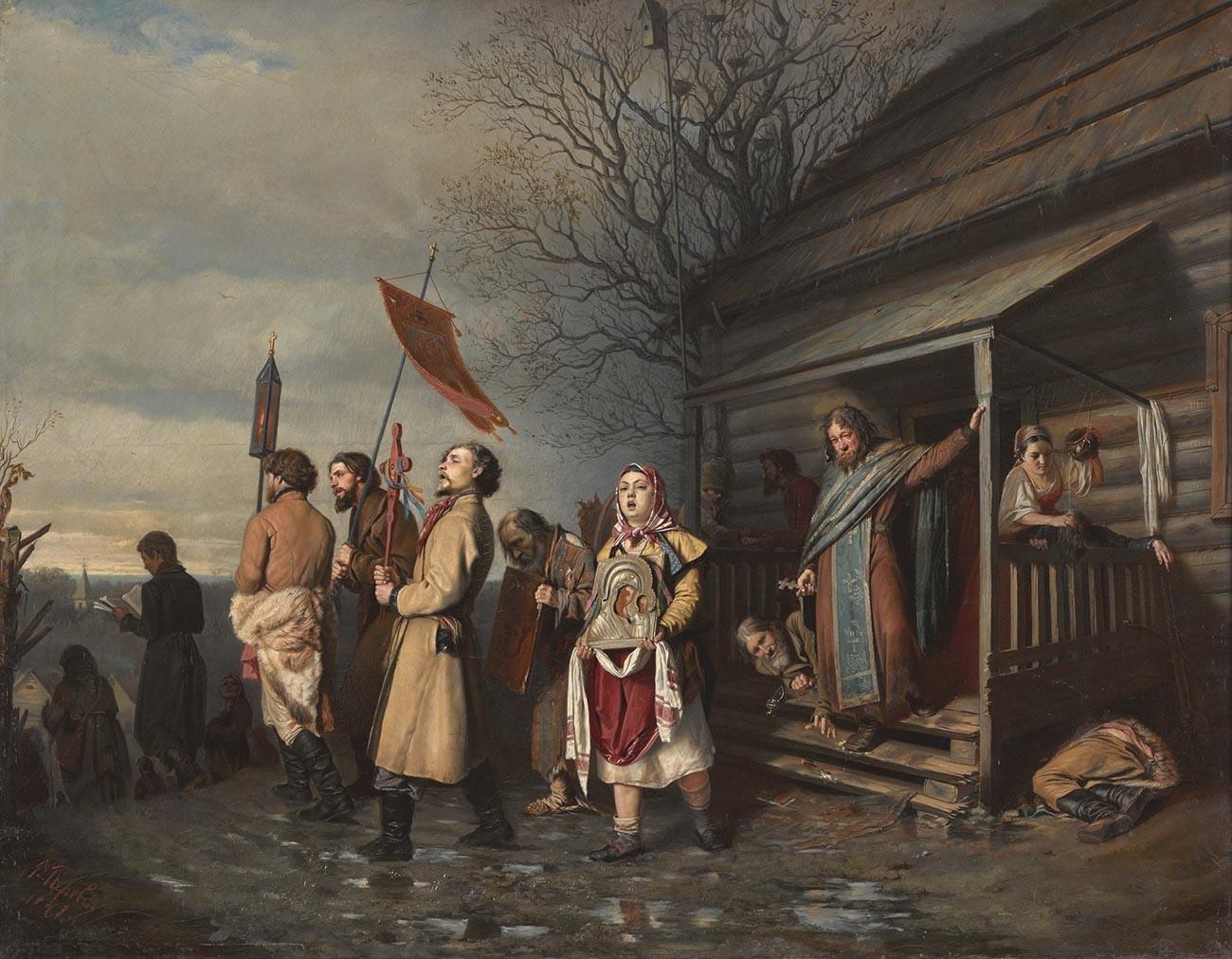 Vassíli Perov. Procissão de Páscoa em uma aldeia. 1861.