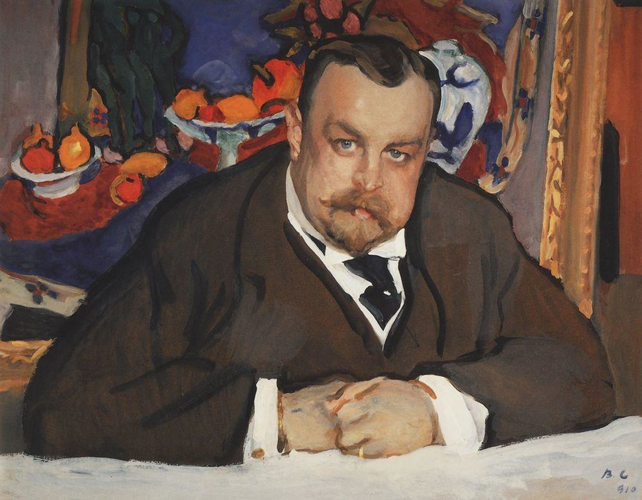 "Valentín Seróv. Retrato de Ivan Morôzov (apresentando ""Frutas e bronze"", de Henri Matisse)."