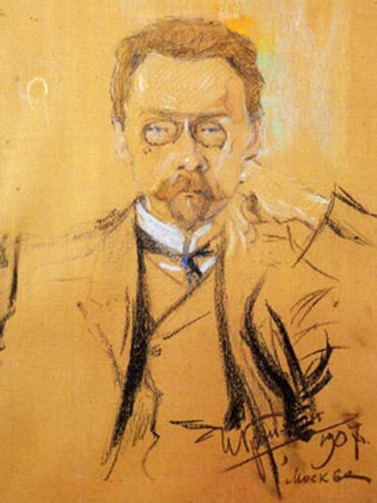 Iliá Grinman. Retrato de Aleksêi  Bakhrúchin.
