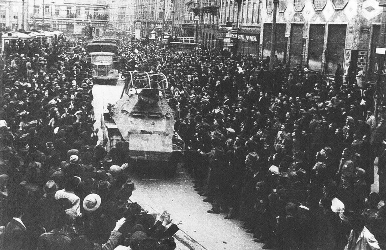 Немецкие войска в Загребе.