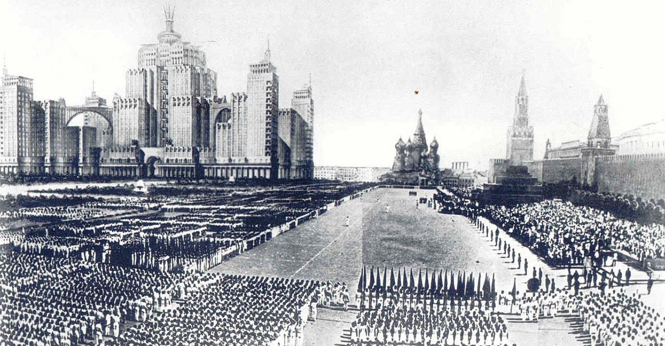 Конкурсная работа на дизайн-проект здания Народного Комиссариата тяжелой промышленности, 1934