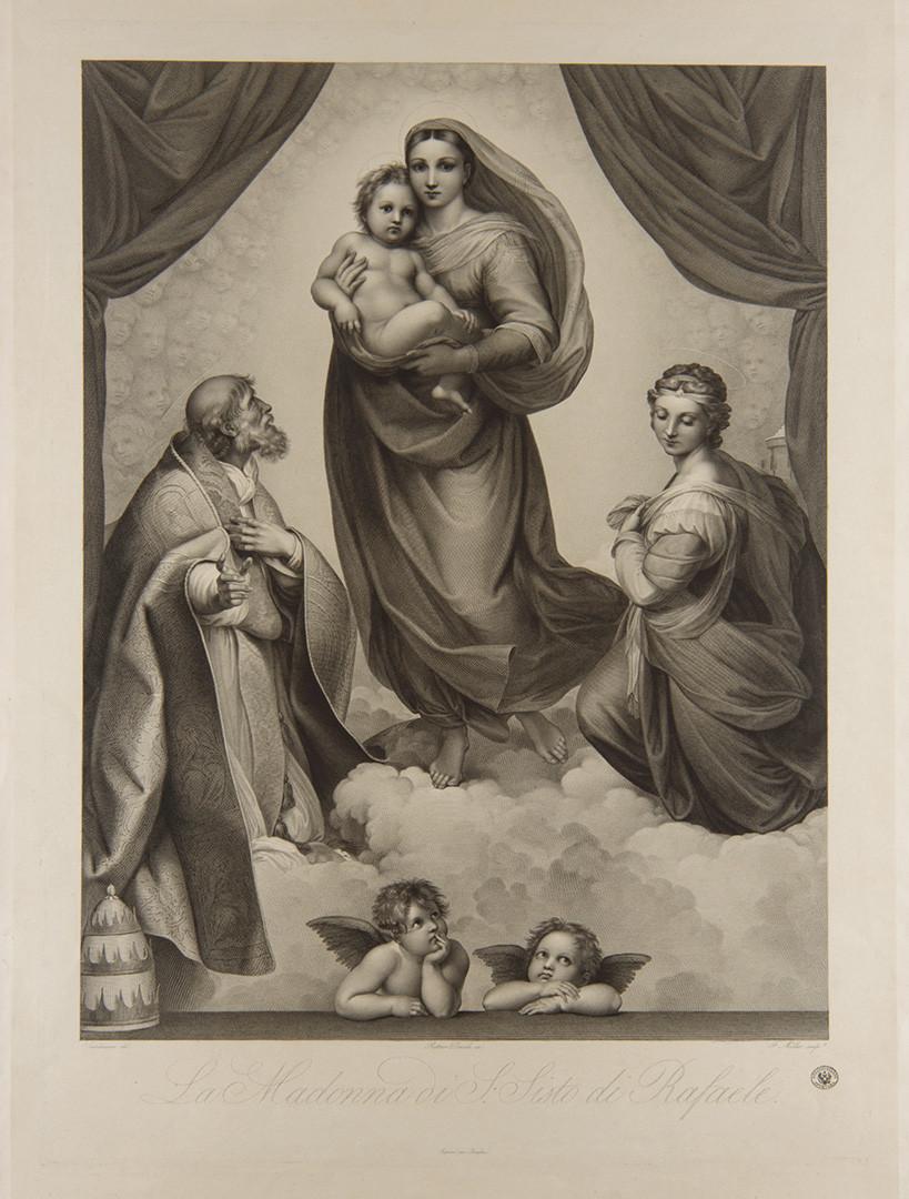 Johann Friedrich Müller basato sul dipinto di Raffaello Madonna Sistina 1816