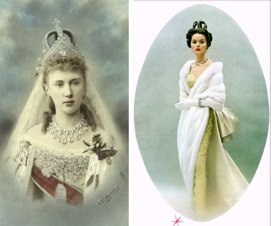 La princesse Elisabeth de Saxe-Altenburg et un modèle de Cartier en couronne de mariage Romanov