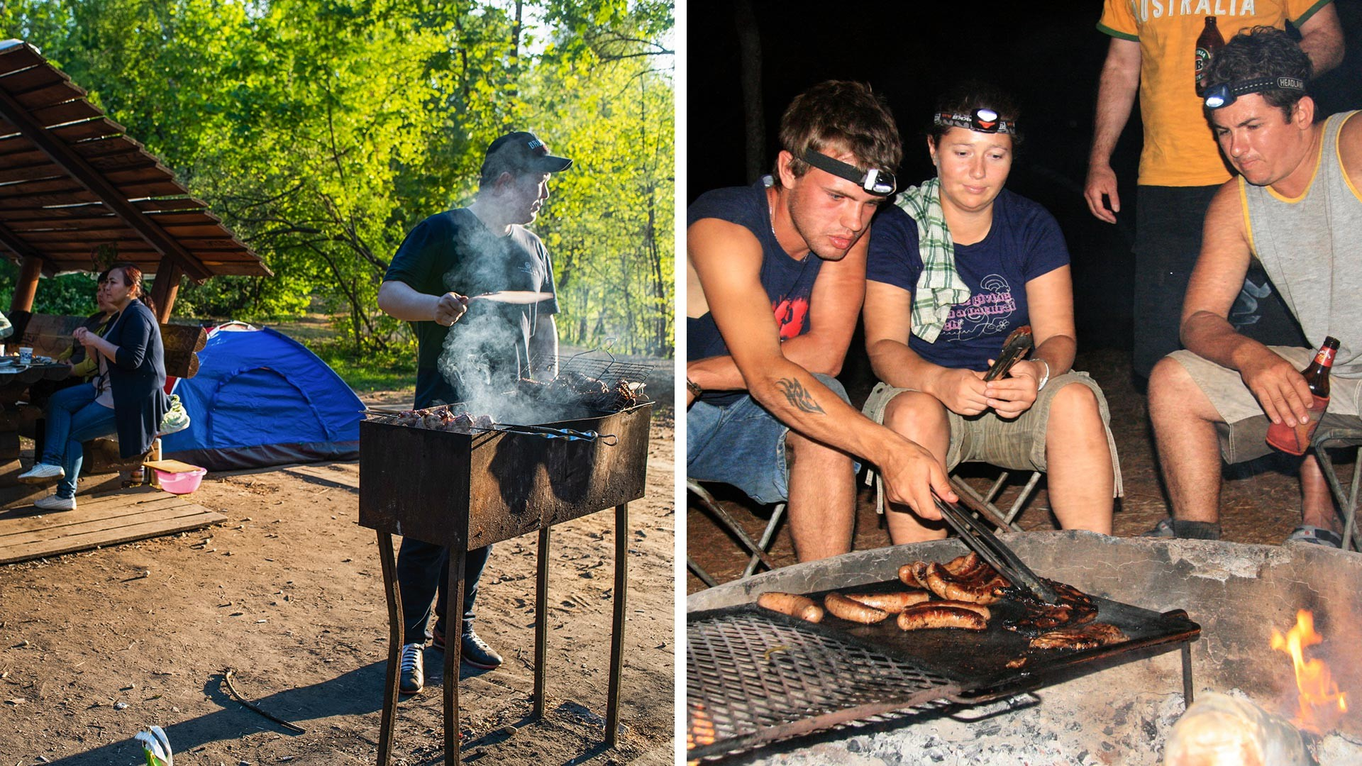 Left: Muscovites make shashlyk at the park. Right: Locals in Australia make a nice BBQ evening.