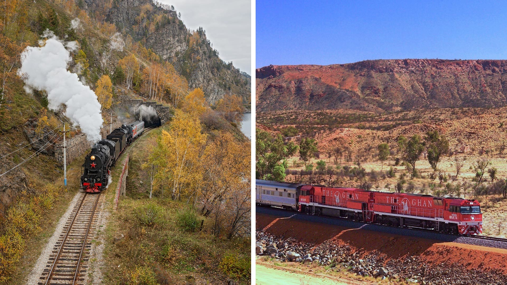 Left: The Circum-Baikal Railway. Right: The Ghan passenger train.
