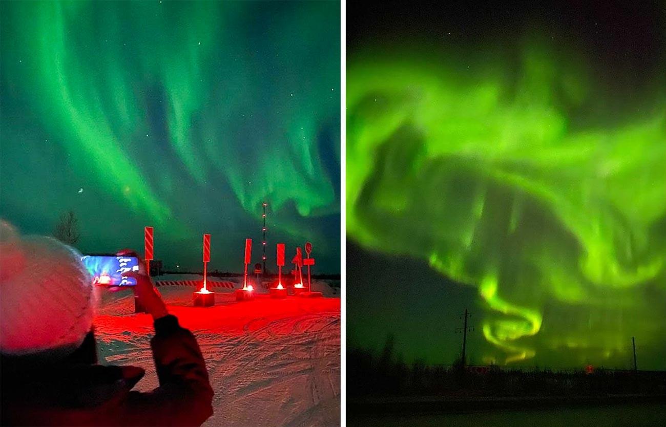 Cahaya Utara atau arurora yang menakjubkan.
