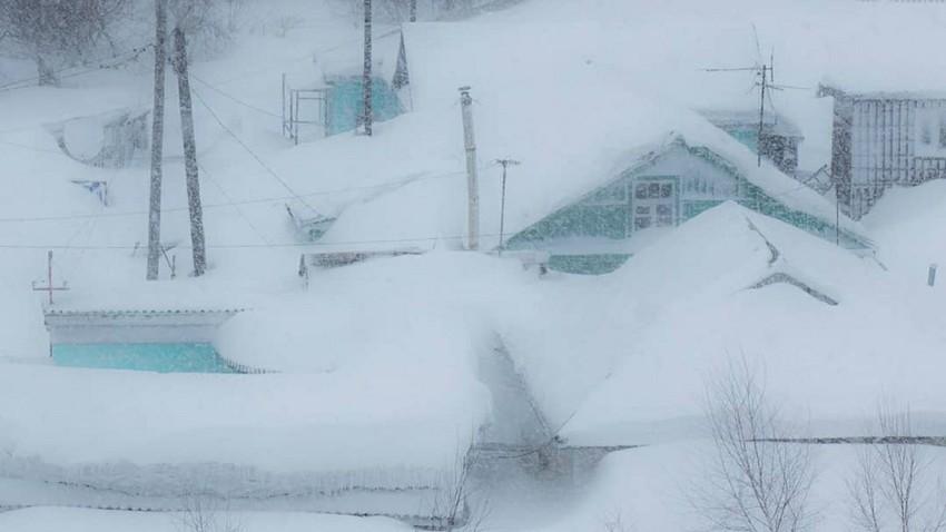 Casas en Sajalín en invierno, 2018