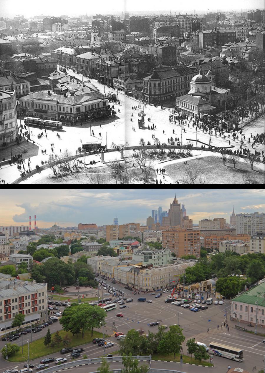Plaza de la Puerta Prechistenski antes y después