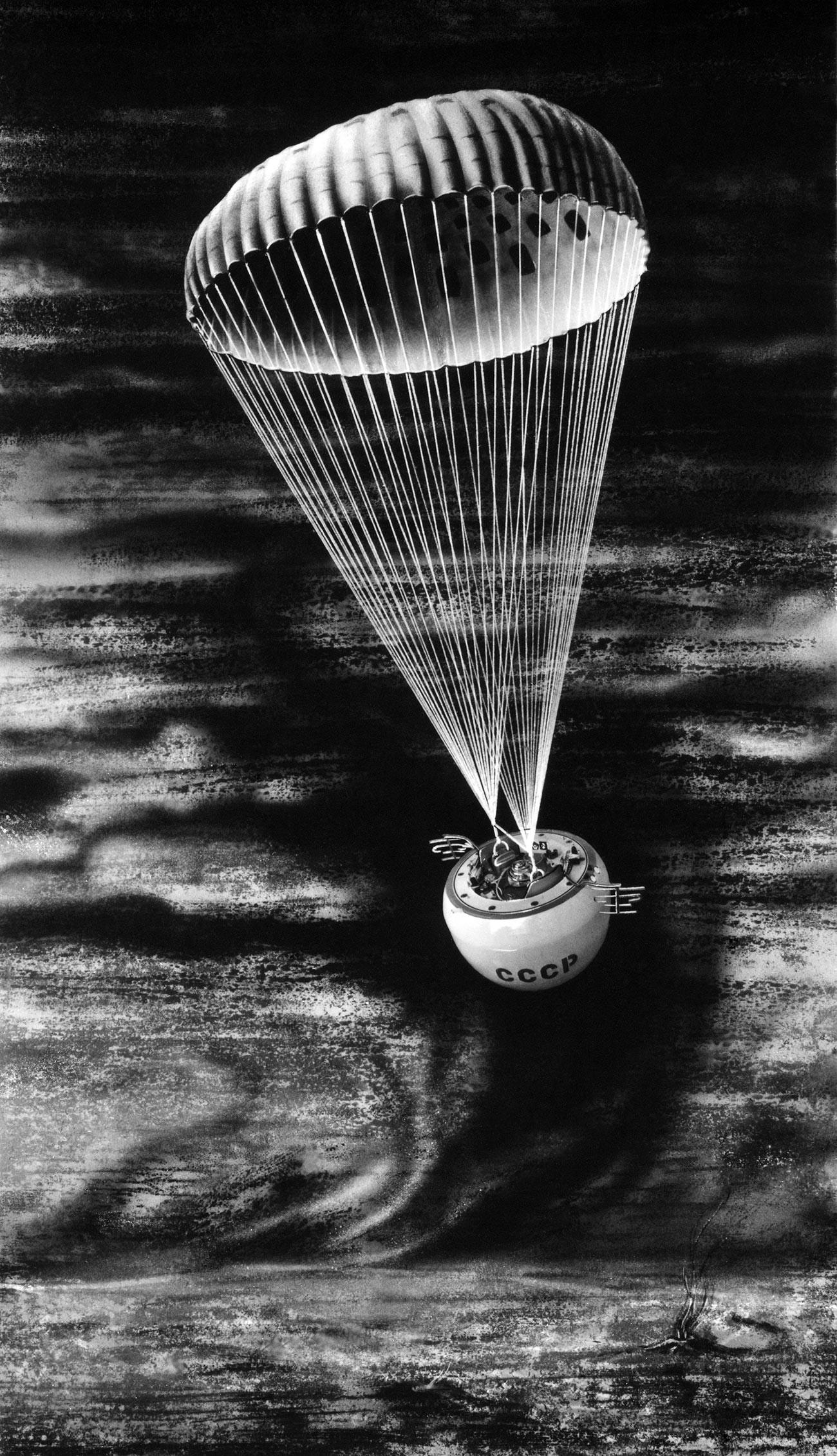 """Сонда аутоматске међупланетарне станице """"Венера 5"""" спушта се на Венеру. Репродукција."""