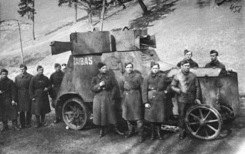 Coche blindados Fiat-Izhorski, capturado por las tropas lituanas y bautizado como 'Zaibas'. Años 30.