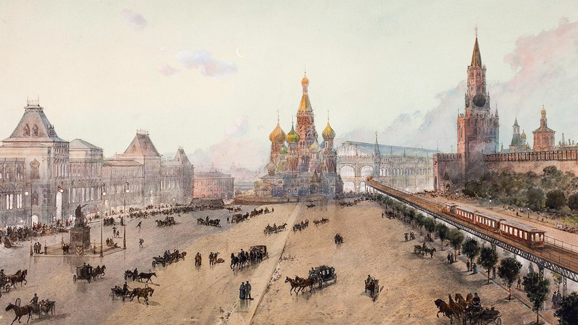 N.Karazin. Estación de metro y ferrocarril central en la misma Plaza Roja, según el proyecto de P.Balinski