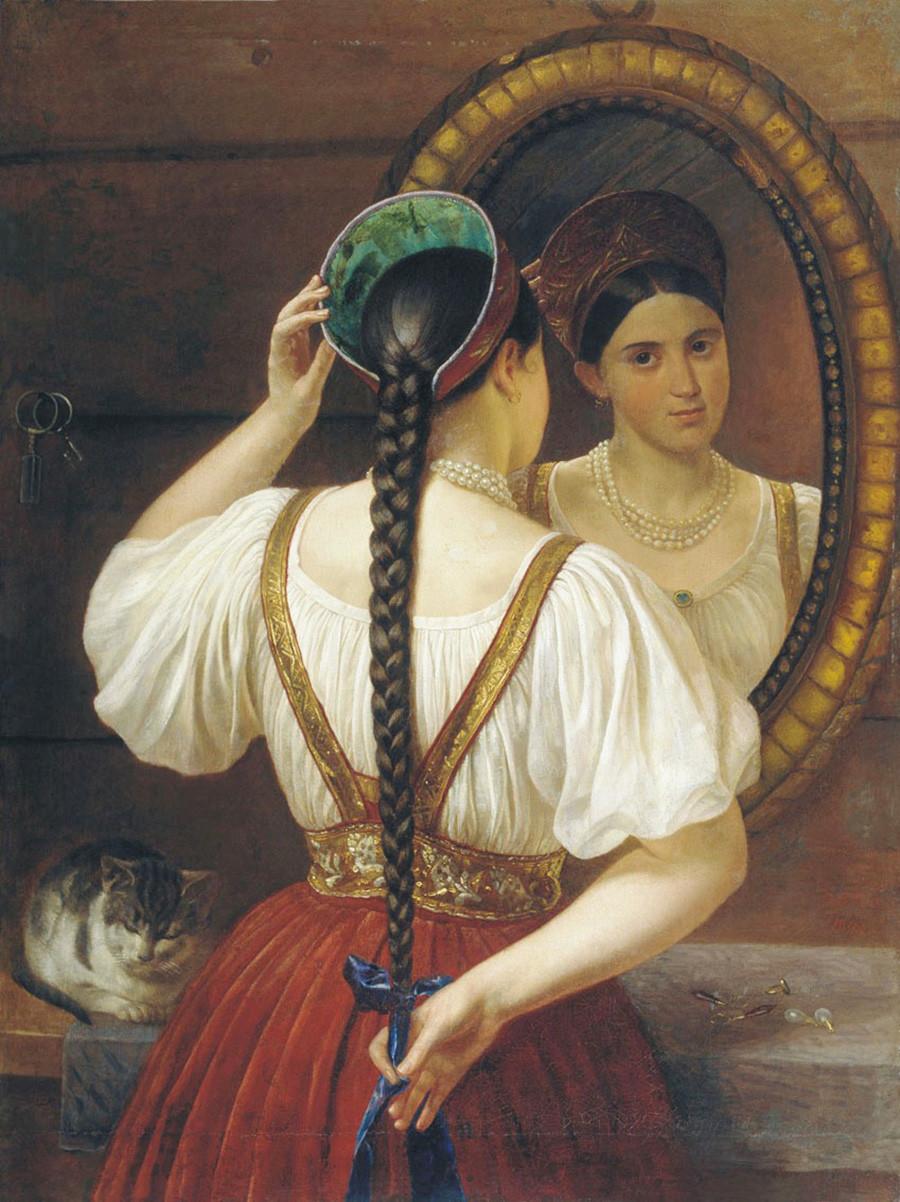 Ragazza davanti a uno specchio, 1848. Phillip Budkin