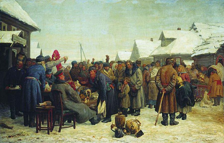 """""""Um leilão de dívidas"""", pintura de Vassíli Maksimov, 1880-1881."""