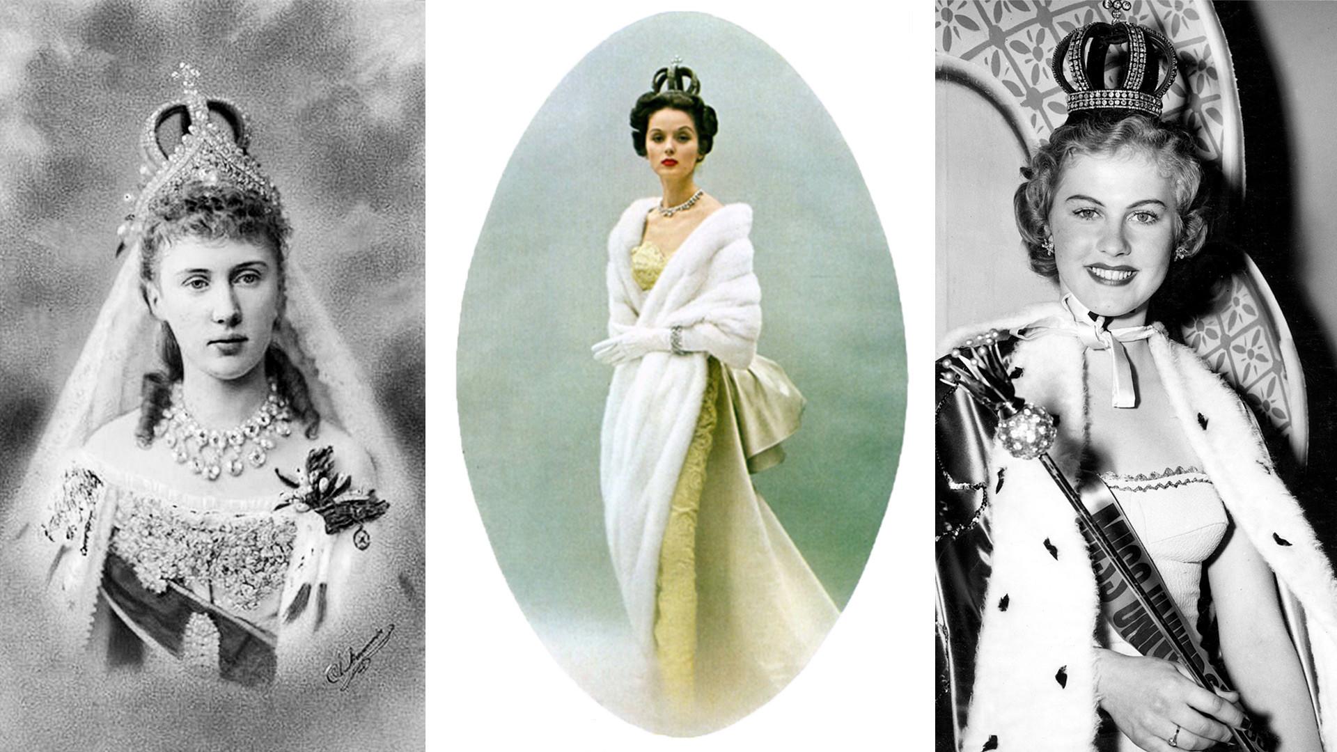 Венчальная корона Романовых на Елизавете Маврикиевне (1884), американской модели (1953) и победительнице конкурса красоты в Калифорнии (1952).