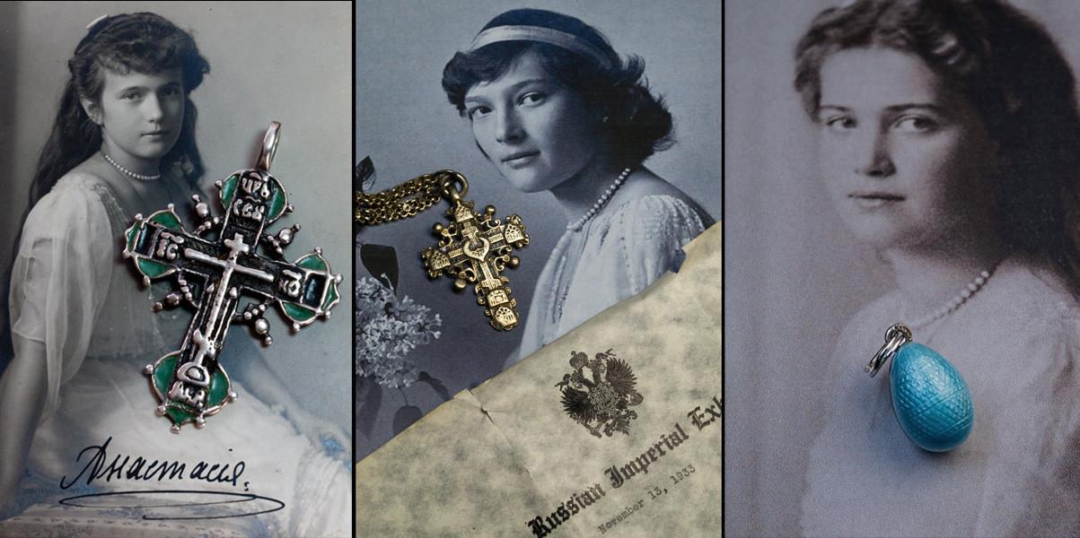 Нательные кресты дочерей Николая II.