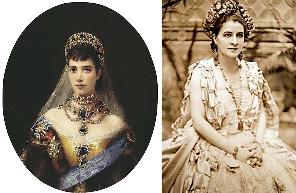 Мария Федоровна в сапфирах и Ганна Вальска в сапфировом ожерелье.
