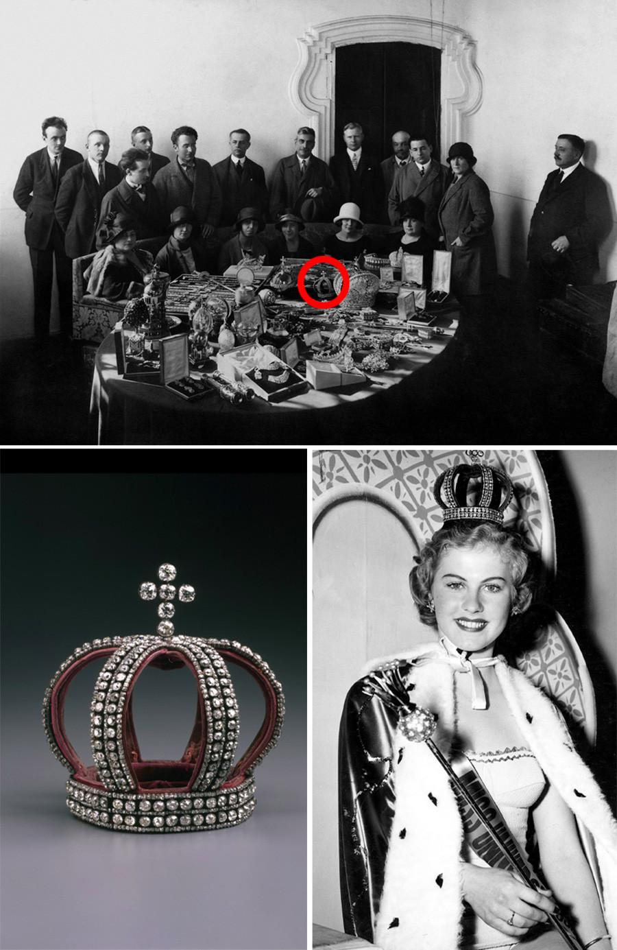 Эта корона была среди прочих драгоценностей, подготовленных для продажи на аукционах. В 1952 году она украсит голову победительницы конкурса красоты в Калифорнии.