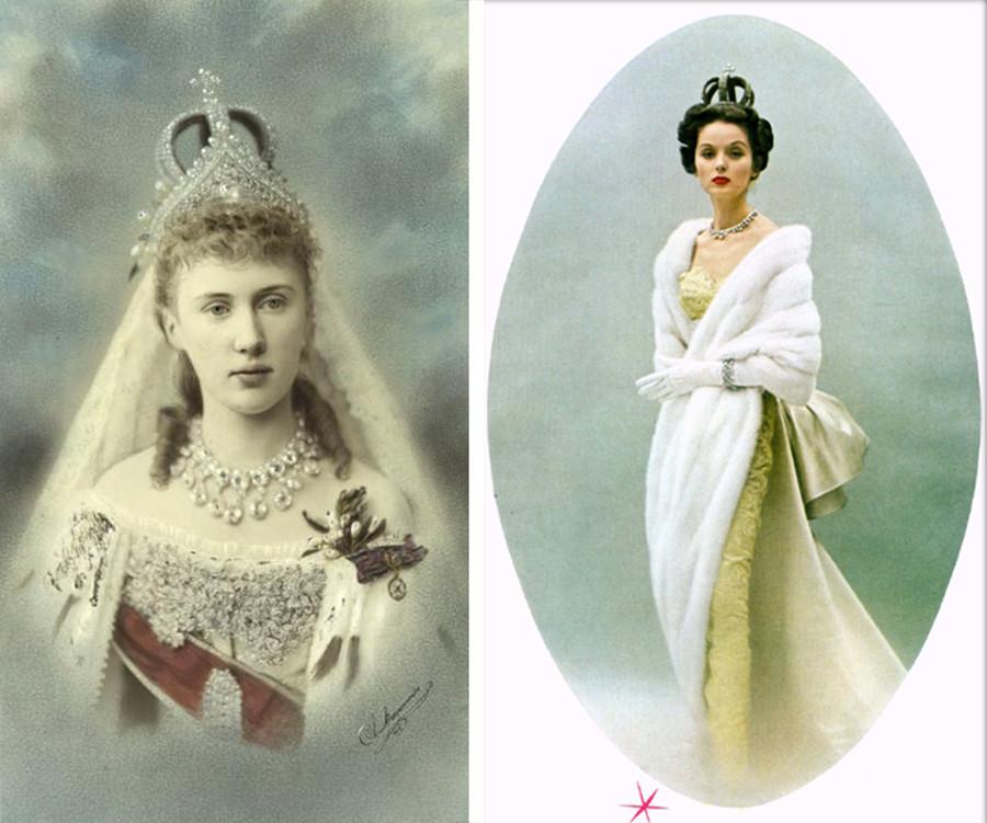 Елизавета Маврикиевна выходила замуж в этой короне в 1884 году. На фото 1953 года корона украшает модель Cartier в вечернем платье.