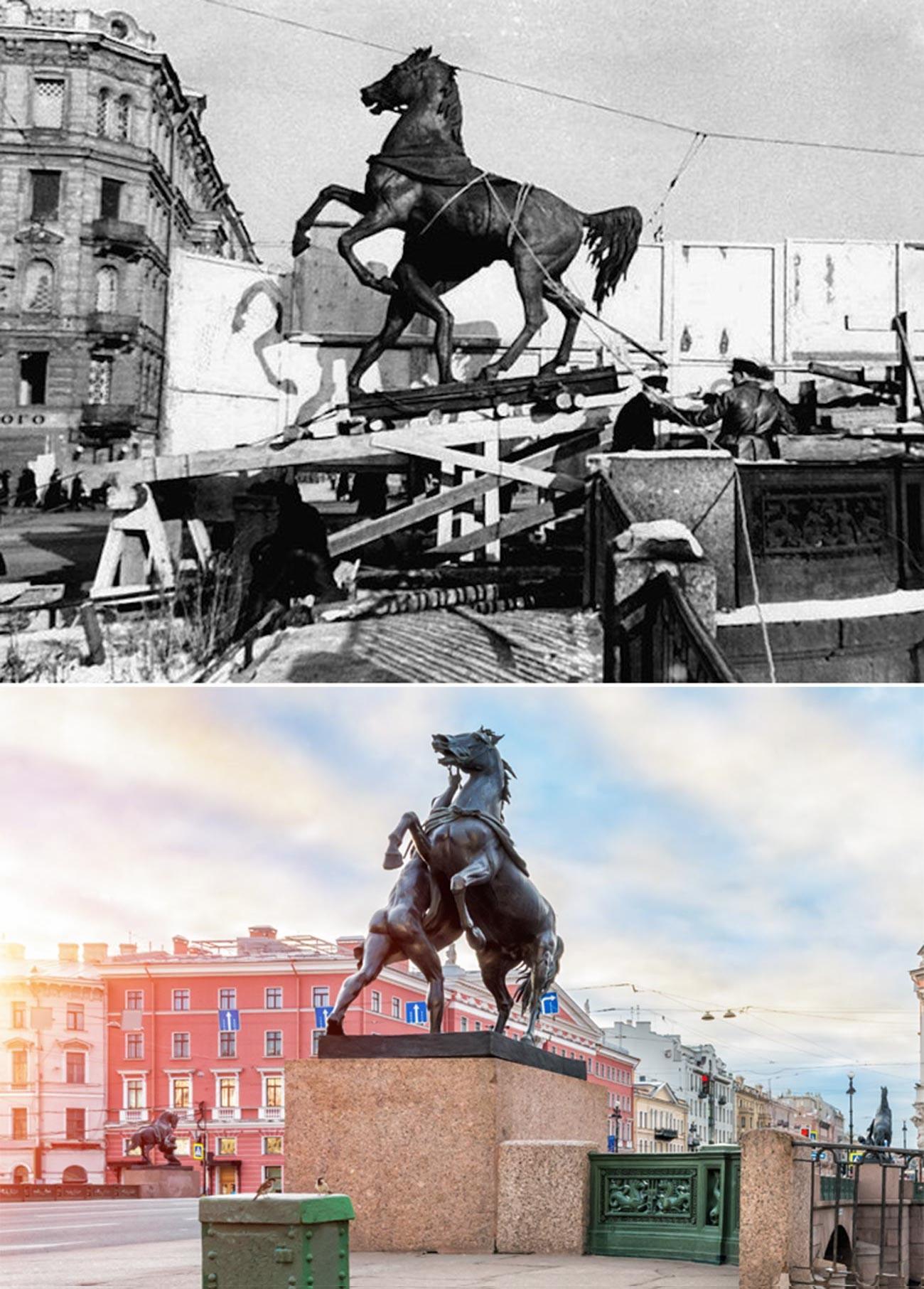 Odstranjevanje Klodtovih konjev z mostu Aničkova (zgoraj)