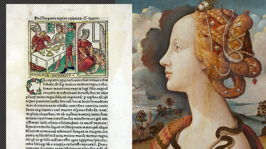 La storia di Cleopatra. A destra: un frammento sulle donne famose di Boccaccio (Ulma, Johann Zeiner, 1473); a sinistra: un frammento del ritratto di Simonetta Vespucci di Piero di Cosimo (1490), che mostra Simonetta Vespucci come Cleopatra con un serpente al collo