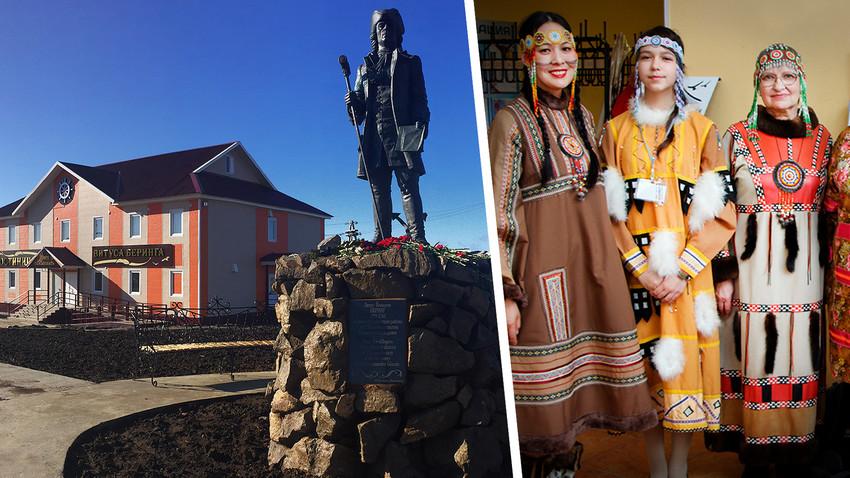 Einheimische aus Nikolskoje in traditionellen Kostümen.