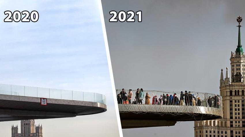 """Sur le pont """"suspendu"""" du parc Zariadié, à Moscou"""