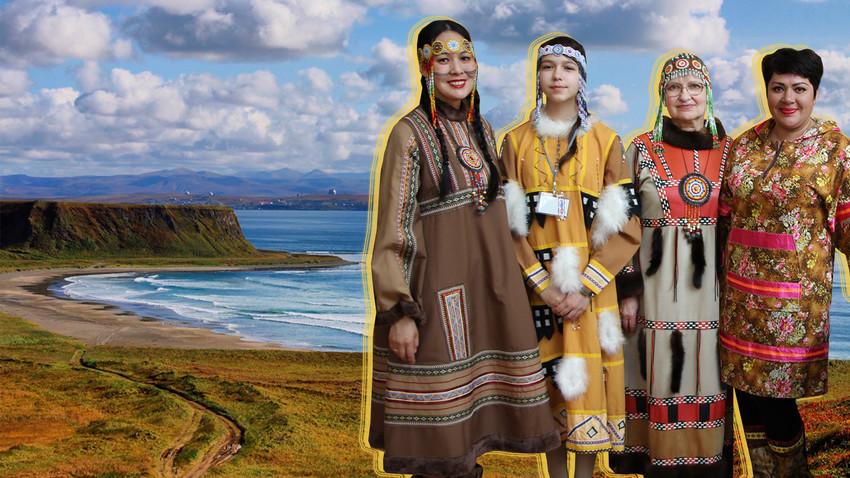 Los habitantes de Nikolskoie con trajes tradicionales.