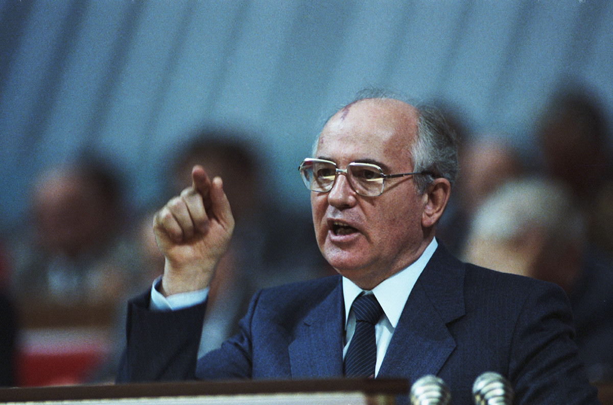 General Secretary of the CPSU Central Committee Mikhail Gorbachev gives a speech in 1973.