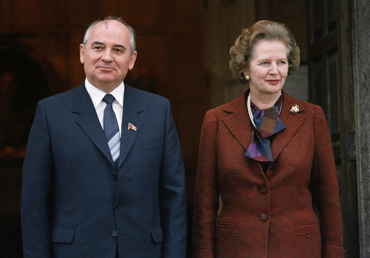 Mikhail Gorbachev with Britain's Prime Minister Margaret Thatcher