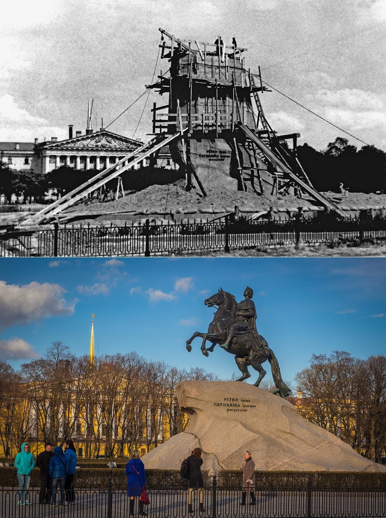"""Споменикот на Петар Велики """"Бронзениот коњаник"""" за време на блокадата."""