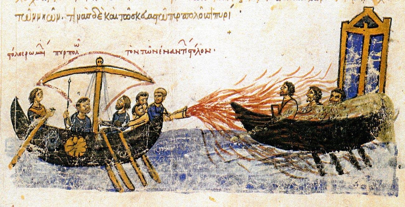 Representação medieval do 'fogo grego'