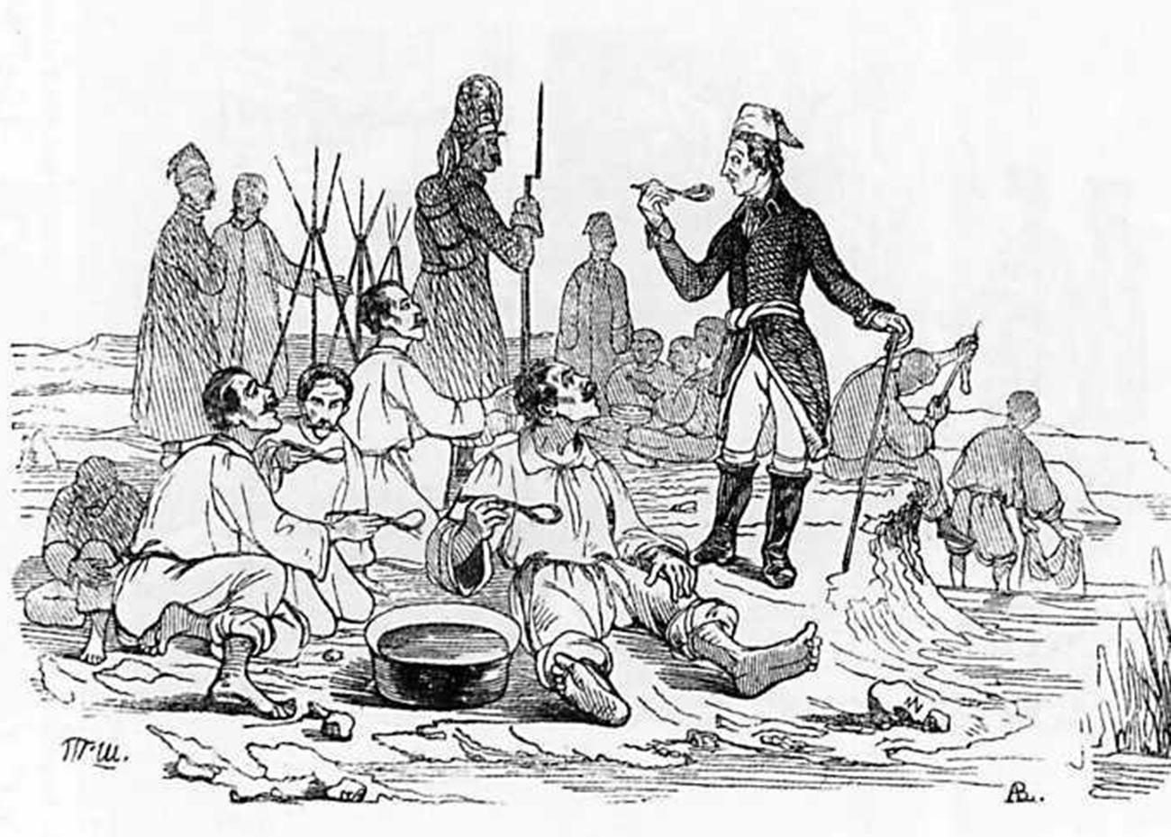 O marechal de campo Aleksandr Suvorov divide a refeição com seus soldados.